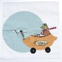 Békás nagyméretű textil zsebkendő vagy szalvéta mesemintás pamutból lányoknak, fiúknak, gyerekeknek, Mese illusztrációval díszített mosható  texti...