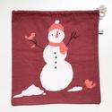 Téli ajándék csomagolás - pamut zsák újrahasznosított anyagból jó gyerekeknek karácsonyi ajándékoknak, mikulásra, Vidám hóemberes ajándékcsomagoló Ha te is elk...