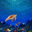 """""""Víz alatti csend"""" egyedi festmény, Művészet, Festmény, Akril, Festészet, Feszített vászon, akril, 40×40×2cm, felülete kezelve. Ez a festmény igazán élethű, nyugalmat áraszt..., Meska"""