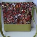 Zöld-bubis táska, Táska, Válltáska, oldaltáska, Desinger pamutvászonból és textilbőrből készült a táska.Szivaccsal van bélelve ami nagyon j..., Meska