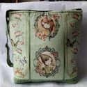 Zöldmintás Mirabelle táska, Táska, Válltáska, oldaltáska, Desinger pamutvászon az alapanyaga a táskának.Bélése zöld színű pamutvászon 2 db zsebbel.Ci..., Meska