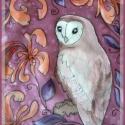 Gyöngybagoly festett selyemkendő, Dekoráció, Ruha, divat, cipő, Kép, Női ruha, Egy szép gyöngybaglyot festettem erre a hernyóselyem kendőre,virágmintával, lilás színekkel.  Kézzel..., Meska