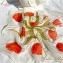Piros tulipános selyem kendő, Piros tulipánok zöld levelekkel díszítik ezt a...