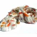 Őszi levelek selyemsál, Ruha, divat, cipő, Női ruha, Szép őszi színű leveleket festettem erre a selyemsálra.  Mérete 40 x 150 cm, anyaga hernyóselyem.  K..., Meska