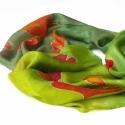 Ginkgó leveles selyemsál, Ruha, divat, cipő, Női ruha, RENDELHETŐ!  Ginkgó leveleket festettem erre a zöld hosszú hernyóselyem sálra.   Rendelhető!  Csodás..., Meska