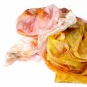 Rozsdás selyemsál, Ruha, divat, cipő, Kendő, sál, sapka, kesztyű, KÉSZ TERMÉK Igazi őszi színkavalkád, szép rozsda, citrom és narancsos színek. Mérete: 45x180 cm.  Ké..., Meska