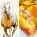 Indián ló sál, festett selyemsál, Ruha, divat, cipő, Kendő, sál, sapka, kesztyű, Indián ló és indián minták sárga alapszínen. Igazán különlegesre sikerült ez a selyemsál, igazán egy..., Meska