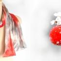 Szürke és piros selyemsál, Ruha, divat, cipő, Kendő, sál, sapka, kesztyű, Sál, Szürke és piros színű, kézzel festett hernyó selyemsál.  Mérete 40x150 cm. , Meska