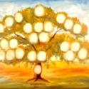 Ujjlenyomat családfa, olajfestmény rendelhető, Képzőművészet, Festmény, Olajfestmény, Egyedi ujjlenyomat fa, kézzel festett olajkép kb. A3-as méretben rendelhető. A neveket, a helyeket a..., Meska