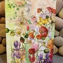 Pipacsok a kertben akril festmény , Dekoráció, Otthon, lakberendezés, Képzőművészet, Festmény, Egyedi vidám virágos akrilfestmény szecessziós stílusban, vintage nyomatokkal.  Dekupázs és m..., Meska