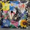 Virágzó kapcsolat: akril yin-yang mandala festmény  (jin-jang), Otthon & lakás, Képzőművészet, Festmény, Akril, Festmény vegyes technika, Egyedi stílusú, nagy méretű mandala festmény. Az alap a pergö deszkákon elhelyezett virágok. Erre ke..., Meska