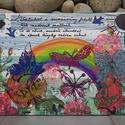 Pillangók szigete: egyedi akrilfestmény , Képzőművészet, Festmény, Akril, Festmény vegyes technika, Egyedi akrilfestmény az álmok erejéről.  Repesztőlakkal utánoztam a pergő deszka mintáját, ..., Meska