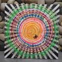 Körforgás: modern akril festmény pókhálóval, Képzőművészet, Festmény, Akril, Festmény vegyes technika, Egyedi stílusú, rendkívül különleges nagy méretű mandala festmény. A modern hátter előtt a pókhálóba..., Meska