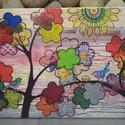 Család: madárkás akril festmény a szeretetről , Képzőművészet, Esküvő, Festmény, Nászajándék, Egyedi stílusú kép 30x40cm méretben feszített vásznon. A virágban pompázó fák ágai közt ..., Meska