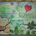 Hiányzol: ünnepi akril festmény madárkával, Képzőművészet, Otthon, lakberendezés, Szerelmeseknek, Festmény, Decoupage, transzfer és szalvétatechnika, Festészet, Egyedi stílusú kép 30x40cm méretben feszített vásznon. Szép ünnepi hangulatú háttér előtt várja a k..., Meska