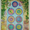 Ablak falikép/ festmény, Otthon & lakás, Képzőművészet, Festmény, Akvarell, Szeretettel készített eredeti nagyméretű  festményem. Feszített vásznon vegyes technikával. 60X80cm...., Meska