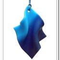 Kék hullám medál, Ékszer, óra, Nyaklánc, Medál, Gyurma, Ékszerkészítés, FIMO ékszergyurmából kézzel formázott, a kék többféle szép árnyalatát fölvonultató, különleges form..., Meska