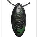 Zöld- fekete kígyóvonallal díszített medál, Ékszer, óra, Nyaklánc, Medál, Gyurma, Ékszerkészítés, Sajátkezűleg készített fekete- zöld színátmenetes ékszergyurmából kézzel formáztam a hosszúkás, dom..., Meska