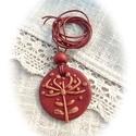 Pitypang, de nem pongyolához : ), Ékszer, Nyaklánc, Medál, Ékszergyurmából készítettem a bronzos alapot, melyre vörösréz színű pitypangos díszítést mintáztam. ..., Meska