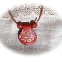 Sejtszintű harmónia, Ékszer, óra, Nyaklánc, Medál, Gyurma, Ékszerkészítés, Terrakotta, barackvirág és bronzvörös színű, egymással harmonizáló ékszergyurmákból gyurmapréssel k..., Meska