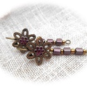 """Lila virág - függővel, """"fülbevaló függőknek"""" : ), A francia kapcsos fülbevalót egy réz színű vi..."""