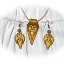 ÚJ Arany szirmú különleges formájú medál és fülbevaló - ékszer szett, Ékszer, Fülbevaló, Nyaklánc, FIMO effect arany, (sötétben fluoreszkáló) fehér és napsárga ékszergyurmákból millefiori technikával..., Meska