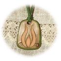 Kis tulipán - tűzzománc medál, Képzőművészet, Ékszer, óra, Magyar motívumokkal, Medál, A púder, zöld és tört fehér színvilágú kis tulipános medált vörösréz lemezre, festőzománc és sgraffi..., Meska