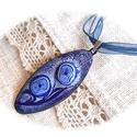 Páros kék virágos - tűzzománc medál, Képzőművészet, Ékszer, Medál, A hosszúkás medált vörösréz lemezre, festőzománc és sgraffito technikával készítettem. A munkám elké..., Meska