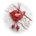 """""""Láblógató"""" kis madárka : ), Téglavörös ékszergyurmából saját kezűleg k..."""