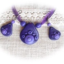 Lila pillanatok - ékszer szett, Ékszer, Nyaklánc, Fülbevaló, Egymással harmonizáló, négyféle lila színű ékszergyurmából készítettem ezt az ékszer szettet.  A cse..., Meska