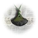Zöld- fekete árnyalatos harang alakú medál, Ékszer, Nyaklánc, Medál, Süthető gyurmából kézzel formázott, olajzöldből feketébe hajló árnyalatú, matt fényű lakkal lakkozot..., Meska