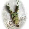 Zöldfüzér - nyaklánc, Polimer clay anyagból kézzel formáztam ezt a vi...