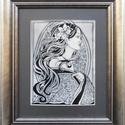 Lány virággal - tűzzománckép, Képzőművészet, Dekoráció, Otthon, lakberendezés, Kép, Tűzzománc, Fekete zománcozott vaslemezre sgraffito és festőzománc technikával készítettem a tűzzománc képet, m..., Meska