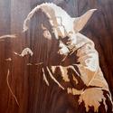 Egyedi Yoda intarzia falikép, dísz, ajándék, Dekoráció, Képzőművészet, Kép, Vegyes technika, Famegmunkálás, A képen látható termék, már elkelt, de eltudom készíteni ennek teljes mását, kisebb eltérésekkel. E..., Meska