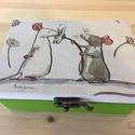 Egér doboz, Otthon, lakberendezés, Tárolóeszköz, Doboz, Láda, Decoupage, szalvétatechnika, Fa doboz egér mintával, szalvétatechnikával készítettem, akril festékek felhasználásával, egyedi ke..., Meska