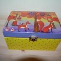 Rókás doboz, Otthon, lakberendezés, Tárolóeszköz, Doboz, Láda, Decoupage, szalvétatechnika, Fa doboz róka mintával, szalvétatechnikával készítettem, akril festékek felhasználásával, a pöttyök..., Meska