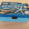 Tenger fadoboz, Otthon, lakberendezés, Tárolóeszköz, Doboz, Láda, Fa doboz tenger mintával, kopottas stílusban szalvétatechnikával készítettem, akril festékek ..., Meska