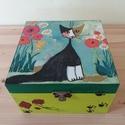 Fekete cica doboz, Otthon, lakberendezés, Tárolóeszköz, Doboz, Láda, A képen látható cica doboz decoupage technikával készítettem, szalvéta, akril festékek felha..., Meska