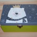 Maci doboz, Otthon, lakberendezés, Tárolóeszköz, Doboz, Láda, Fa doboz maci mintával, szalvétatechnikával készítettem, akril festékek felhasználásával A ..., Meska