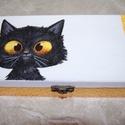 fekete cica doboz, Otthon, lakberendezés, Tárolóeszköz, Doboz, Láda, Decoupage, transzfer és szalvétatechnika, Fa doboz  fekete cica mintával, szalvétatechnikával készítettem, akril festékek felhasználásával A ..., Meska