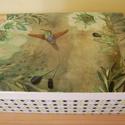 Madár doboz, Otthon, lakberendezés, Tárolóeszköz, Doboz, Fa doboz madár mintával, rízspápírtechnikával készítettem, akril festékek felhasználásáv..., Meska