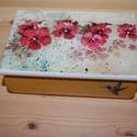 virágos doboz, Otthon, lakberendezés, Tárolóeszköz, Láda, A képen látható virágos doboz decoupage technikával készítettem, szalvéta, akril festékek f..., Meska