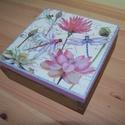 virágos -szitakötő doboz, Otthon, lakberendezés, Tárolóeszköz, Doboz, Láda, Fa doboz virágos -szitakötő mintával, szalvétatechnikával készítettem, akril festékek felha..., Meska