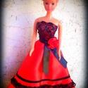 Alkalmi ruha ruha Barbi méretű babának.Piros-fekete,csipkés., Baba-mama-gyerek, Játék, Baba játék, Varrás, Piros szatén selyem alkalmi ruha Barbi méretű babának. Fekete csipkével és virággal díszítve. Hátol..., Meska