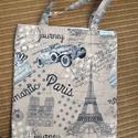 PÁRIZS - Vászontáska , Táska, Szatyor, Válltáska, oldaltáska, Bevásárló táska mindig kéznél kell, hogy legyen.   Ez a táska kis méretre összehajtható,bélelt és el..., Meska