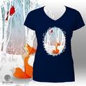 Nyomtatott mintás póló: Róka és pinty (sötétkék - NAVY), Ruha, divat, cipő, Női ruha, Felsőrész, póló, Sötétkék (NAVY)  póló, saját grafikámmal: róka és kardinális pinty a téli erdőben. A róka a Shutters..., Meska