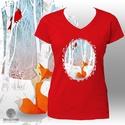 Nyomtatott mintás póló: Róka és pinty (piros - RED), Ruha, divat, cipő, Női ruha, Felsőrész, póló, Piros (RED)  póló, saját grafikámmal: róka és kardinális pinty a téli erdőben. A róka a Shutterstock..., Meska