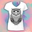 Színezhető póló fekete-fehér mintával - Bagoly, Ruha, divat, cipő, Színezhető póló - BAGOLY  Saját grafikámmal díszített, azonnal rendelkezésre álló és rendelhető póló..., Meska