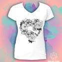 Színezhető póló fekete-fehér mintával - Flower Power, Ruha, divat, cipő, Színezhető póló - Flower Power  Saját grafikámmal díszített, azonnal rendelkezésre álló és rendelhet..., Meska