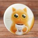 Kávés cica kitűző - Cica kitűző - Kávés kitűző - Kávé kitűző - macska kitűző - cicás ajándék - macskás ajándék, Ruha, divat, cipő, Mindenmás, Ékszer, Bross, kitűző, Kávés cica kitűző - Cica kitűző - Kávés kitűző - Kávé kitűző - macska kitűző - cicás ajándék - macsk..., Meska